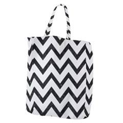 Chevron9 Black Marble & White Linen Giant Grocery Zipper Tote by trendistuff