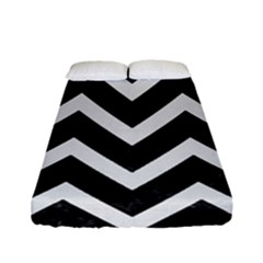 Chevron9 Black Marble & White Linen (r) Fitted Sheet (full/ Double Size) by trendistuff