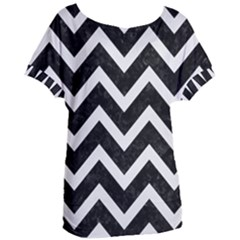 Chevron9 Black Marble & White Linen (r) Women s Oversized Tee by trendistuff