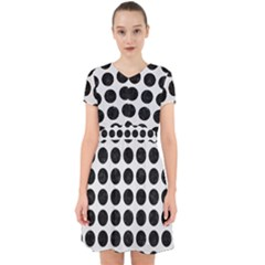 Circles1 Black Marble & White Linen Adorable In Chiffon Dress by trendistuff