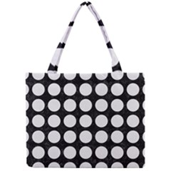 Circles1 Black Marble & White Linen (r) Mini Tote Bag by trendistuff