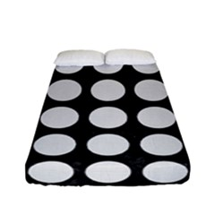 Circles1 Black Marble & White Linen (r) Fitted Sheet (full/ Double Size) by trendistuff