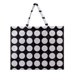 Circles1 Black Marble & White Linen (r) Zipper Large Tote Bag by trendistuff