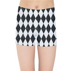 Diamond1 Black Marble & White Linen Kids Sports Shorts