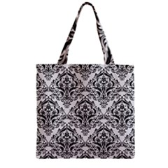 Damask1 Black Marble & White Linen Zipper Grocery Tote Bag by trendistuff