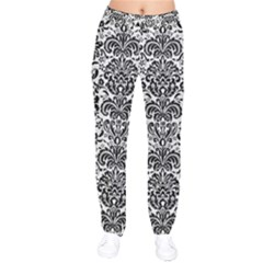 Damask2 Black Marble & White Linen Drawstring Pants