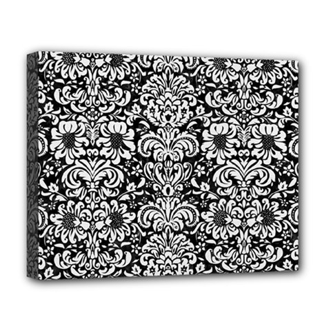 Damask2 Black Marble & White Linen (r) Deluxe Canvas 20  X 16   by trendistuff
