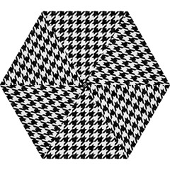 Houndstooth1 Black Marble & White Linen Mini Folding Umbrellas by trendistuff