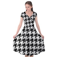 Houndstooth1 Black Marble & White Linen Cap Sleeve Wrap Front Dress by trendistuff