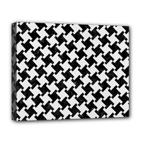Houndstooth2 Black Marble & White Linen Deluxe Canvas 20  X 16   by trendistuff