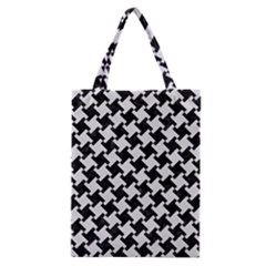 Houndstooth2 Black Marble & White Linen Classic Tote Bag by trendistuff