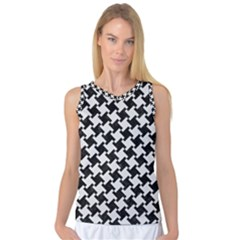Houndstooth2 Black Marble & White Linen Women s Basketball Tank Top by trendistuff