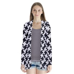 Houndstooth2 Black Marble & White Linen Drape Collar Cardigan