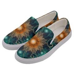 Beautiful Tangerine Orange And Teal Lotus Fractals Men s Canvas Slip Ons by jayaprime