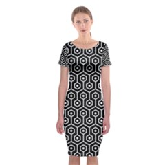 Hexagon1 Black Marble & White Linen (r) Classic Short Sleeve Midi Dress