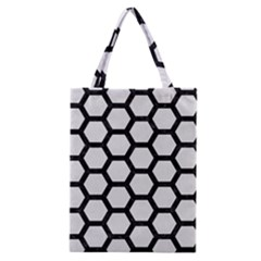 Hexagon2 Black Marble & White Linen Classic Tote Bag by trendistuff