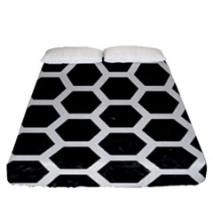 Hexagon2 Black Marble & White Linen (r) Fitted Sheet (queen Size) by trendistuff