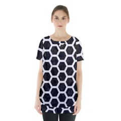 Hexagon2 Black Marble & White Linen (r) Skirt Hem Sports Top by trendistuff