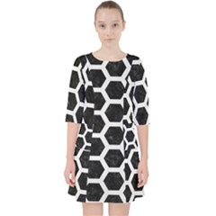 Hexagon2 Black Marble & White Linen (r) Pocket Dress