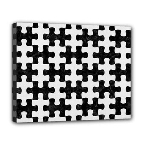 Puzzle1 Black Marble & White Linen Deluxe Canvas 20  X 16   by trendistuff
