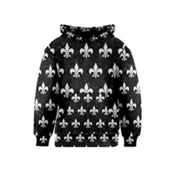 ROYAL1 BLACK MARBLE & WHITE LINEN Kids  Pullover Hoodie