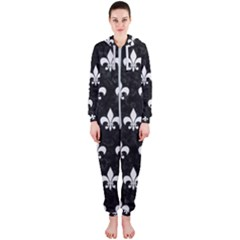 ROYAL1 BLACK MARBLE & WHITE LINEN Hooded Jumpsuit (Ladies)
