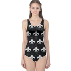 ROYAL1 BLACK MARBLE & WHITE LINEN One Piece Swimsuit