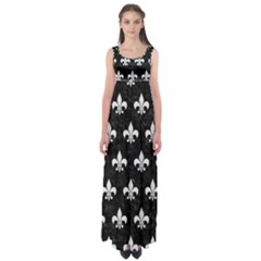 Royal1 Black Marble & White Linen Empire Waist Maxi Dress by trendistuff
