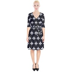ROYAL1 BLACK MARBLE & WHITE LINEN Wrap Up Cocktail Dress