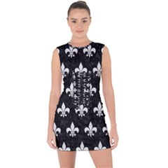 ROYAL1 BLACK MARBLE & WHITE LINEN Lace Up Front Bodycon Dress