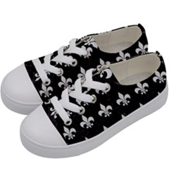 ROYAL1 BLACK MARBLE & WHITE LINEN Kids  Low Top Canvas Sneakers
