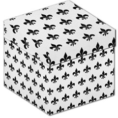 Royal1 Black Marble & White Linen (r) Storage Stool 12   by trendistuff