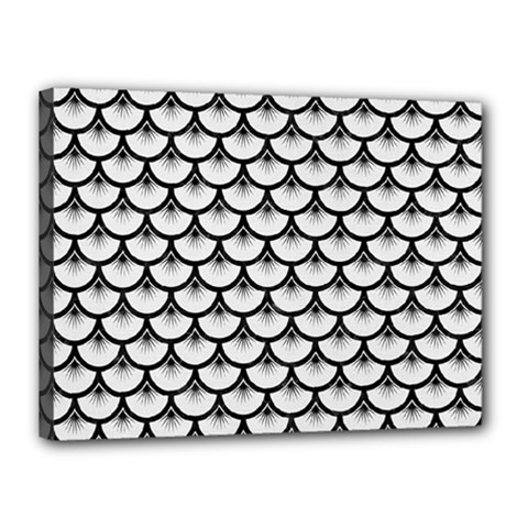 Scales3 Black Marble & White Linen Canvas 16  X 12  by trendistuff