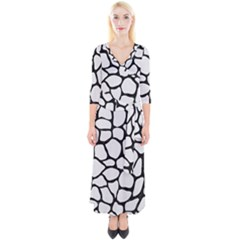 Skin1 Black Marble & White Linen (r) Quarter Sleeve Wrap Maxi Dress