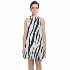 Skin3 Black Marble & White Linen Velvet Halter Neckline Dress