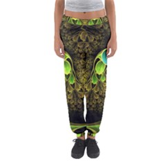 Beautiful Gold And Green Fractal Peacock Feathers Women s Jogger Sweatpants by jayaprime
