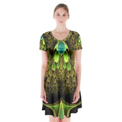 Beautiful Gold And Green Fractal Peacock Feathers Short Sleeve V Neck Flare Dress by jayaprime