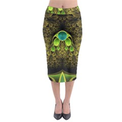 Beautiful Gold And Green Fractal Peacock Feathers Midi Pencil Skirt by jayaprime