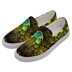 Beautiful Gold And Green Fractal Peacock Feathers Men s Canvas Slip Ons by jayaprime