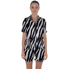 Skin3 Black Marble & White Linen (r) Satin Short Sleeve Pyjamas Set by trendistuff