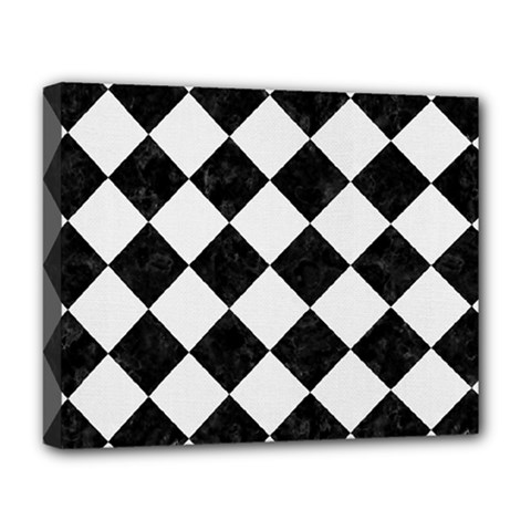 Square2 Black Marble & White Linen Deluxe Canvas 20  X 16