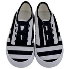 Stripes2 Black Marble & White Linen Kids  Classic Low Top Sneakers