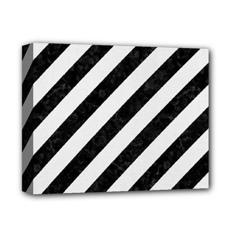 Stripes3 Black Marble & White Linen (r) Deluxe Canvas 14  X 11  by trendistuff