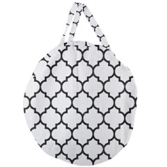 Tile1 Black Marble & White Linen Giant Round Zipper Tote
