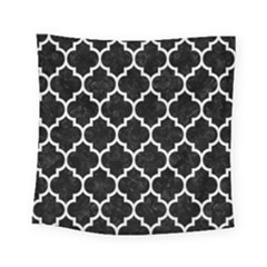 Tile1 Black Marble & White Linen (r) Square Tapestry (small) by trendistuff