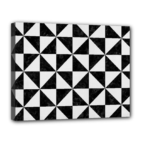 Triangle1 Black Marble & White Linen Canvas 14  X 11  by trendistuff