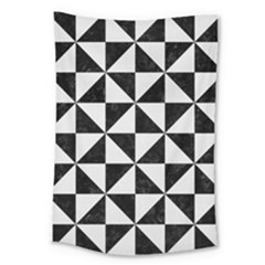 Triangle1 Black Marble & White Linen Large Tapestry by trendistuff