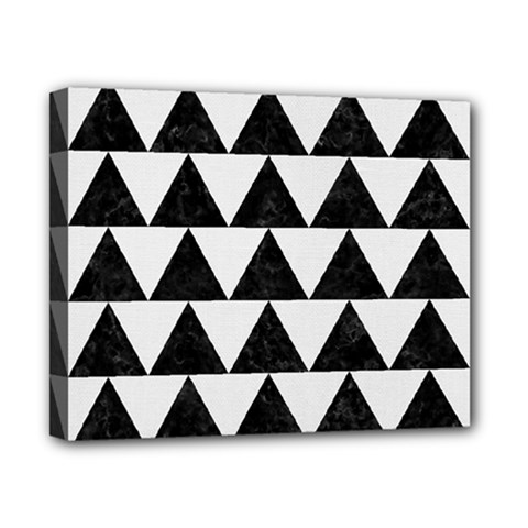 TRIANGLE2 BLACK MARBLE & WHITE LINEN Canvas 10  x 8