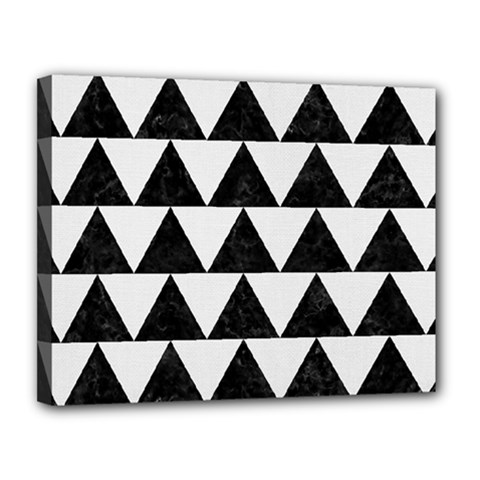 TRIANGLE2 BLACK MARBLE & WHITE LINEN Canvas 14  x 11