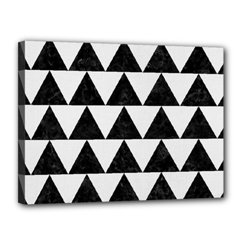 TRIANGLE2 BLACK MARBLE & WHITE LINEN Canvas 16  x 12